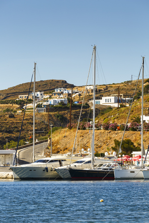 cycladic: Marina in Merichas village, the main port of Kythnos island, Greece.