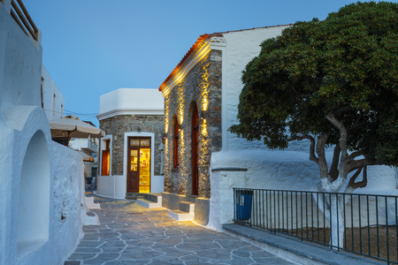 cycladic: Sunset in Chora village of Kythnos island in Greece.