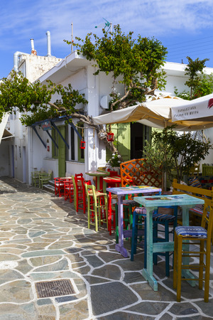 cycladic: Street view of Messaria village on Kythnos island in Greece. Editorial