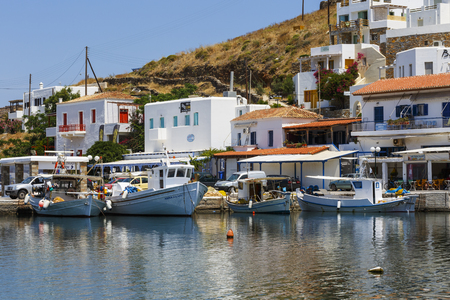 cycladic: Merichas village, the main port of Kythnos island, Greece.