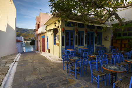 cycladic: Chora of Andros island early in the morning.