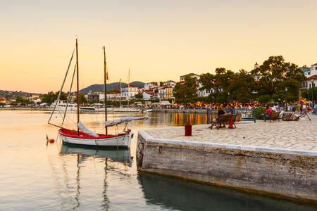 seafronts: Evening view of the harbour of Skopelos town, Greece. Editorial