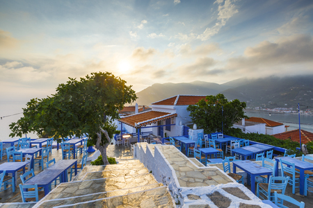 Restaurant on the castle hill in Skopelos town, Greece. Editorial