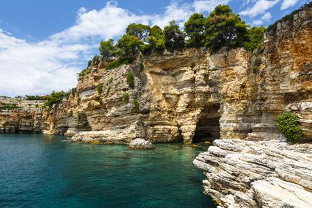 View of the coast near Patitiri village on Alonissos island in Greece.