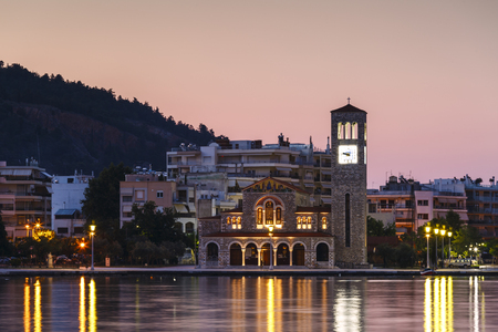 Church at the seafront of Volos city as seen early in the morning.