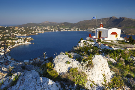 View of Agia Marina village on Leros island in Greece. Stok Fotoğraf