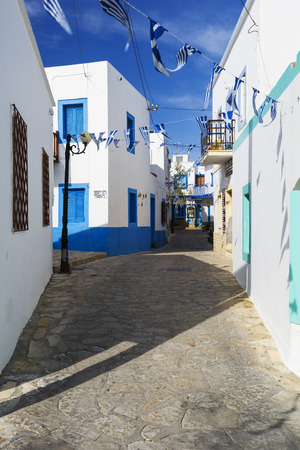 Streets of the village on Lipsi island in Greece.