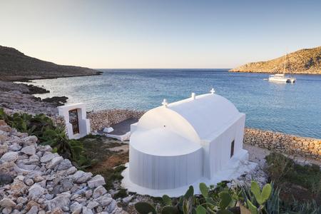 Coast of Halki island in Dodecanese archipelago, Greece. Stock Photo