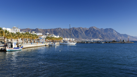 Harbour of Kardamena village and mountains of Kos island, Greece.