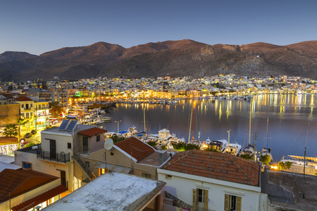 View of the port in Kalymnos town, Greece.