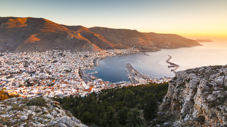 View of the Kalymnos town early in the morning, Greece.