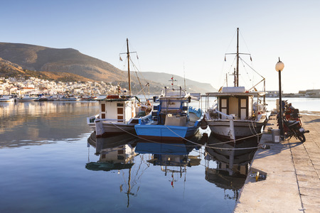 Port of the Kalymnos town early in the morning, Greece.