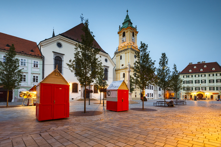 The main square of the old town in Bratislava, Slovakia. Editorial