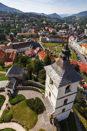 View of Kremnica from the church tower in Kremnica castle, Slovakia.