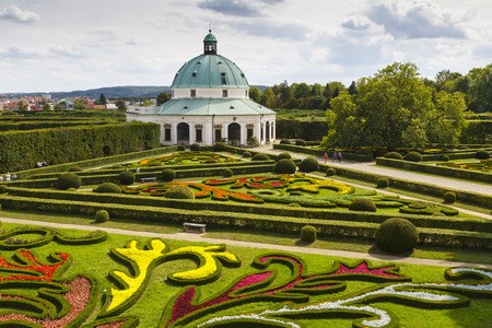 Rotunda in the  protected flower garden of Kromeriz city, Czech Republic.