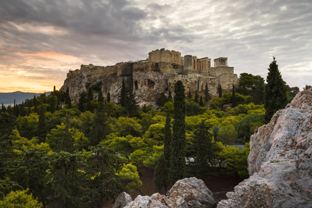 Acropolis as seen from Areopagus hill early in the morning. Banco de Imagens