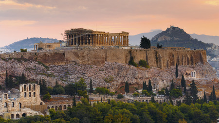 View of Athens from Filopappou hill at sunrise, Greece. Reklamní fotografie