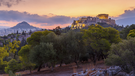 Morning view of Acropolis from Pnyx in Athens, Greece.