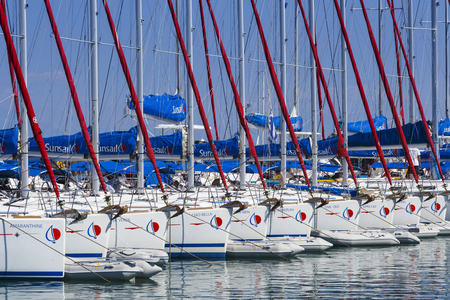 Sail boats of Sunsail company for rent, Greece. Editorial