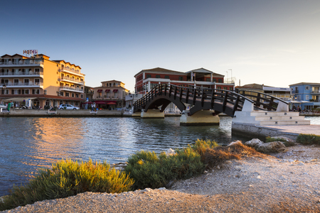 Foot bridge in the harbour of Lefkada town, Greece. Editorial