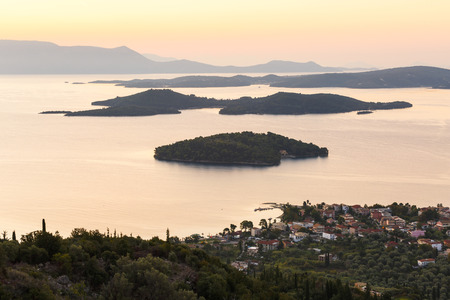 Morning view of Nydri village on Lefkada island and several islands, Greece. Reklamní fotografie