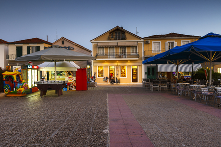 ionian: Shops in the main square of Vathy village in Ithaca island, Greece.