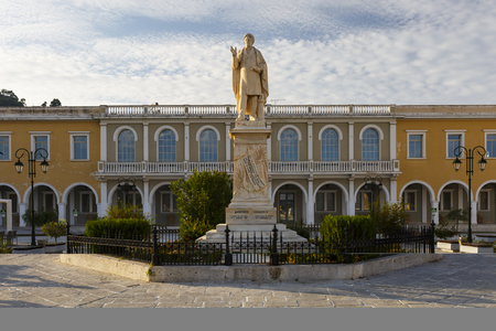 Statue in front of Byzantine museum in Solomos square in Zakynthos town, Greece.