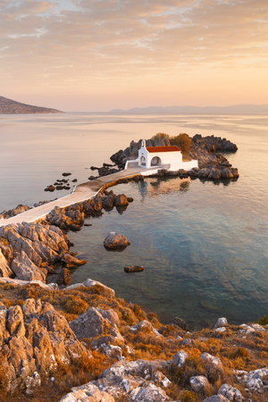 Agios Isidoros church in northern Chios at sunrise. Stock Photo