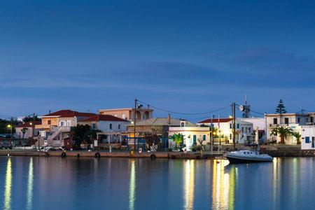 Morning view of the harbour in Psara village, Greece. Redakční
