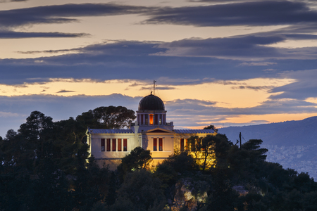 Evening view of the National Observatory on the Hill of Nymphs in Athens, Greece. Stockfoto