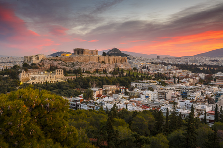View of Acropolis from Filopappou hill at sunrise, Greece. Stockfoto
