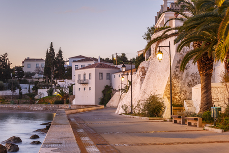 Morning view of traditional architecture in Spetses seafront, Greece.