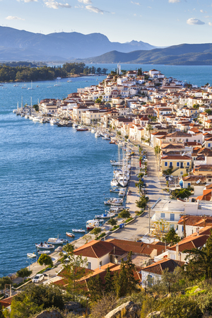 Harbour of the Chora village of Poros island, Greece.
