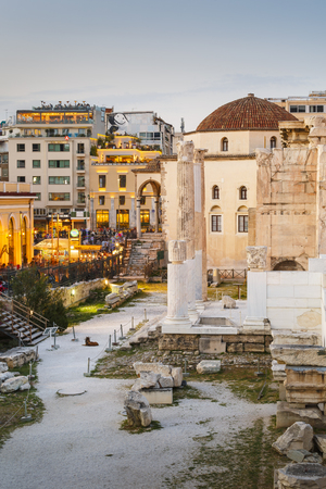 Remains of the Hadrian's Library and the old mosque in Monastiraki square in Athens. Sajtókép