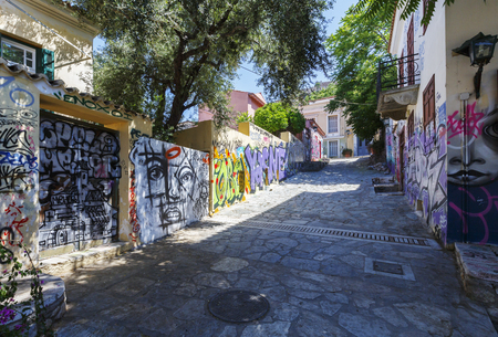 Athens, Greece - May 14, 2018: Plaka, the old town of Athens, is known for its ancient sites and charming neoclassical buildings however it also has its neglected corners which you do not find mentioned in typical travel guides. Editorial
