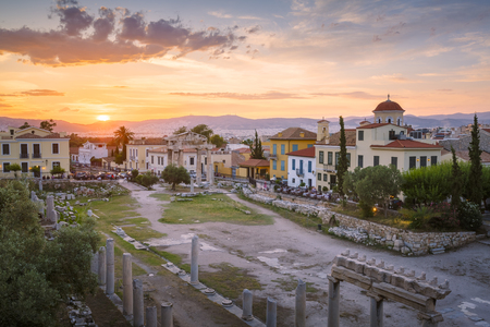 Remains of Roman Agora in the old town of Athens, Greece. Stock Photo