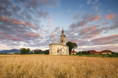 Rural landscape with wheat field and a church in Turiec region, central Slovakia.