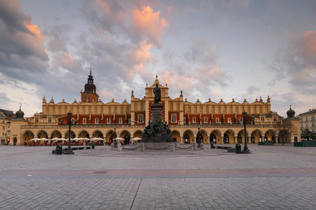 Krakow, Poland - August 23, 2018: The Cloth Hall and Town Hall Tower in the main square of Krakow, Poland.