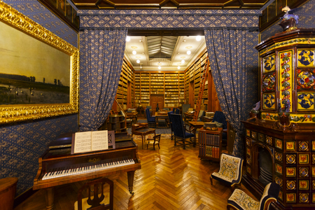 Betliar, Slovakia - August 12, 2018: Interior of a Renaissance-Baroque hunting manor house of Betliar in eastern Slovakia.