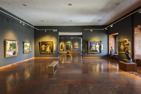 Budapest, Hungary - August 16, 2018: Interior of the Hungarian National Gallery in Budapest. Redakční
