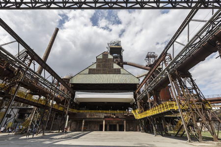 Ostrava, Czech Republic - August 21, 2018: Blast furnace in Lower Vitkovice, a national site of industrial heritage consisting of a unique collection of industrial architecture of former ironworks.