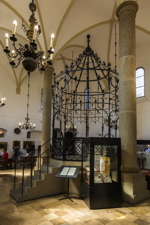 Krakow, Poland - August 23, 2018: Interior of the Old Synagogue in Kazimierz district of Krakow, Poland.