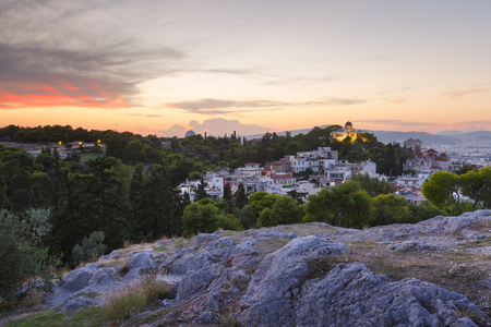 Evening view of the National Observatory on the Hill of Nymphs in Athens, Greece. 版權商用圖片