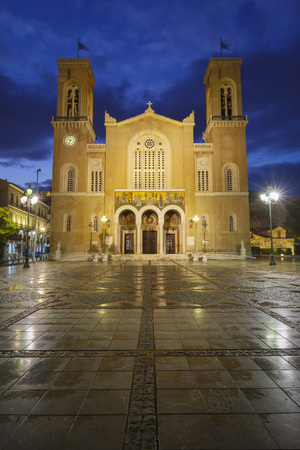 Athens, Greece - September 29, 2018: Metropolitan cathedral of Athens located in Metropolis square in Athenian old town.