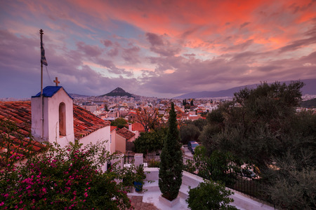 View of Lycabettus hill from Anafiotika neighborhood in the old town of Athens, Greece. 版權商用圖片