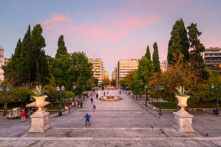 Athens, Greece - October 24, 2018: View of the Athenian high street Ermou across Syntagma square in central Athens. Editöryel