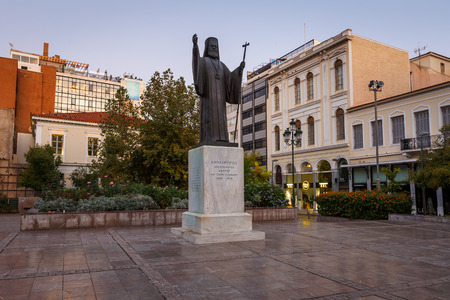 Athens, Greece - November 6, 2018: Statue of archbishop Damaskinos Papandreou in Metropolis square in the old town of Athens.