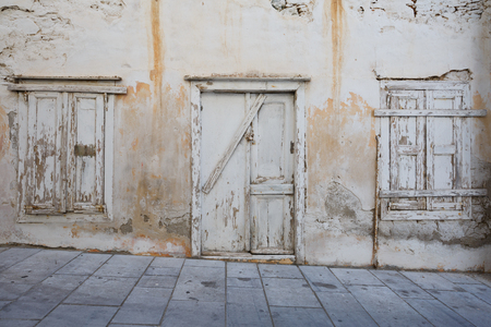 Abandoned building in Ermoupoli town on Syros island in Greece.