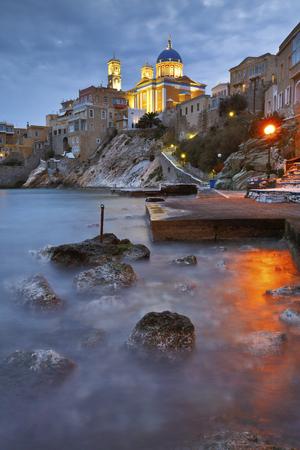 Town beach in Ermoupoli on Syros island in Greece.