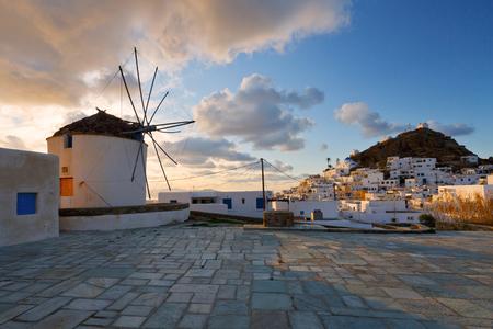 Traditional windmill in Chora of Ios island, Greece.